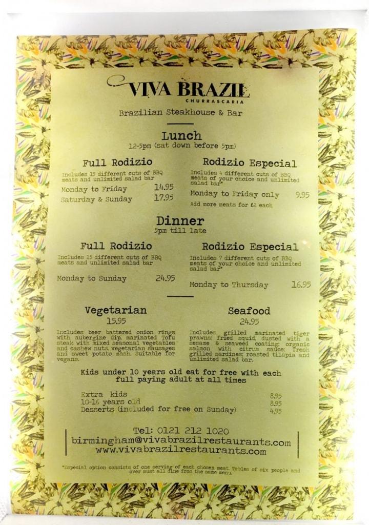 Viva Brazil Menu