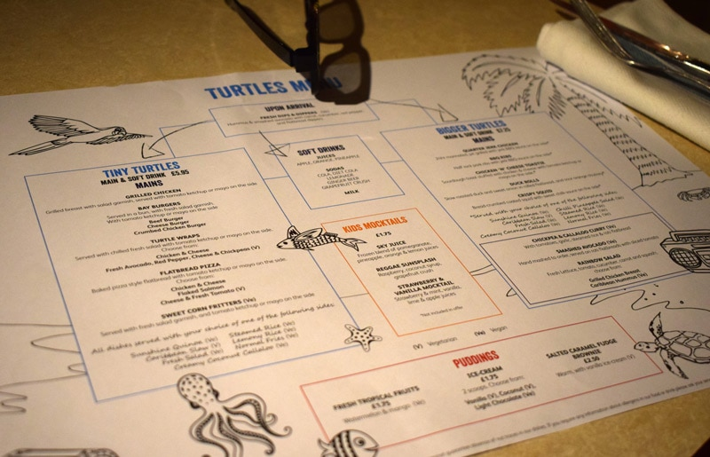 Turtle Bay Kids Menu