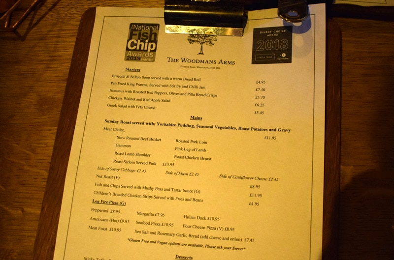 Sunday Dinner at The Woodmans Arms Whickham Menu